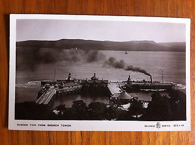 Old Postcard Dunoon Pier With Steamships From Church Tower Reliable Series