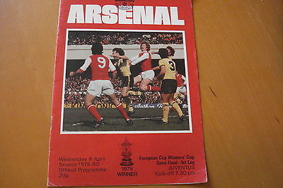 Arsenal V Juventus           European Cup Winners Cup Semi Final          9/4/80