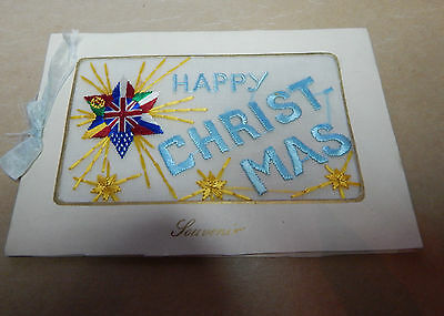 WW1 Silk postcard  Happy Christmas with all allied flags opening card B2