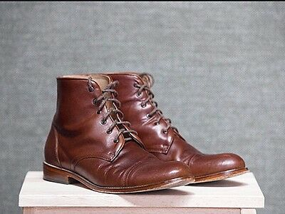 Men's Brown Leather Boots Size 9.5 Heavy Lace Up Shoes