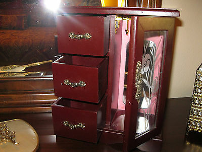 Vintage Style Wood Jewelry Box  storage mirror  3 drawers Necklace holder