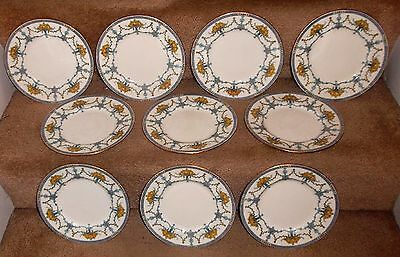 MINTON Burley & Co set of 10 Yellow Rose Gold Trim Dessert Salad Luncheon Plates