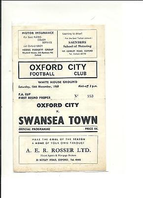 1968/69 FA Cup  1st round  Oxford City v Swansea Town