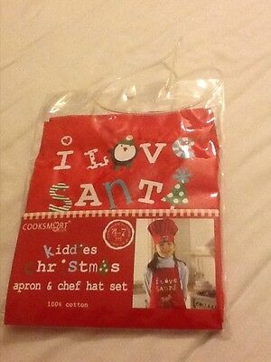 Childrens Christmas Apron and Chef Hat Set