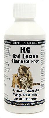 KG Cat Lotion 250ml for fleas, ticks, mange and mites. Chemical Free