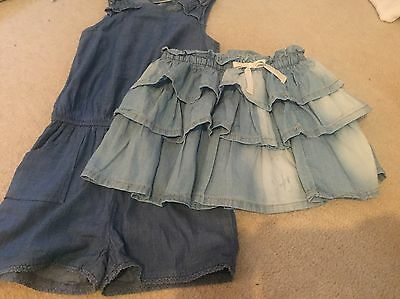 Next Age 4 Denim Shorts Jumpsuit And Denim Skirt Girls