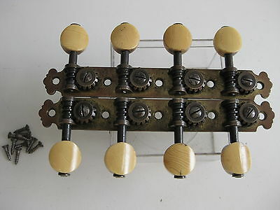 Vintage Fairbanks Lyon & Healy Mandolin Brass Tuners Set for Project / Repair