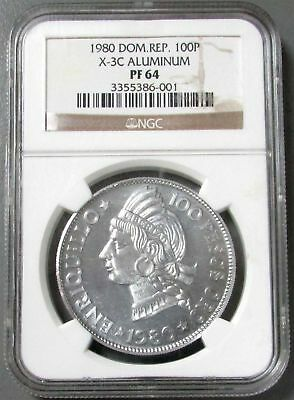 1980 Aluminum Dominican Rep Rare Only 40 Minted 100 Pesos Ngc Proof 64