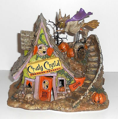 Halloween WITCH HOUSE Lighted Porcelain Decor Crusty Crystal Fortune Tellers