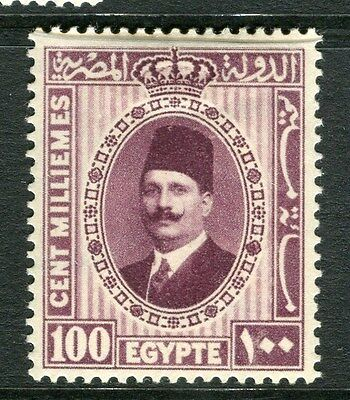EGYPT;  1927 early King Faud issue 100m. fine Mint hinged value