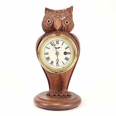 Antique Folk Art Carved Wooden Owl Clock c. 1880s