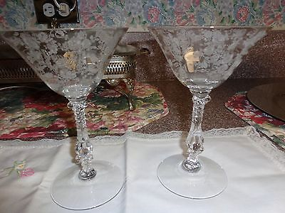 Cambridge Pair (2) Rose Point TALL SHERBETS 7oz - #3121