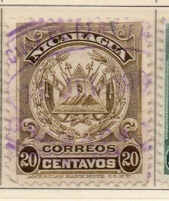 Nicaragua 1909 Early Issue Fine Used 20c. 110924