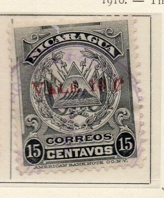 Nicaragua 1910 Early Issue Fine Used 10c. Surcharged 110929