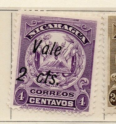 Nicaragua 1910 Early Issue Fine Mint Hinged 2c. Surcharged 110933
