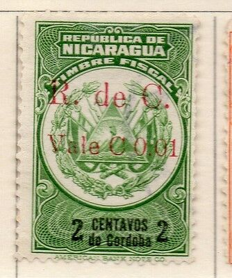 Nicaragua 1921 Early Issue Fine Mint Hinged 1c. Surcharged 111023