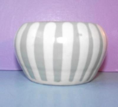 Vintage Prinknash Terracotta Earthenware Pottery Sugar Bowl Striped Design