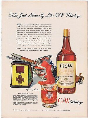 G&W Whiskey 1942 Beautiful Original Illustrated Color Vintage Print Ad