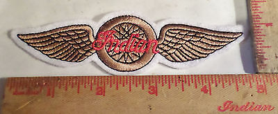 Vintage Indian motorcycle embroidered patch winged-wheel collectible old emblem