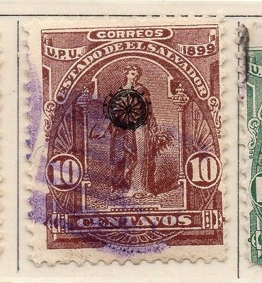 El Salvador 1899 Early Issue Fine Used 10c. Optd 111224
