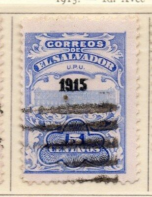 El Salvador 1915 Early Issue Fine Used 5c. Optd 111327