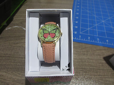 Stylish Watch With Apricot Band And Butterfly Face