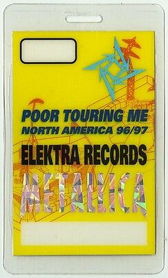 Metallica authentic 1996-1997 tour Laminated Backstage Pass