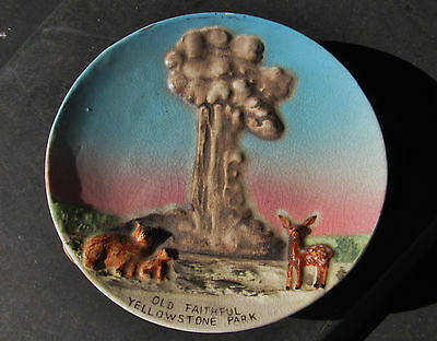 Vintage Vintage Hand Painted Old Faithful Yellowstone Park  Japan Plate 5 Inch D