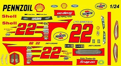 #22 Joey Logano Pennzoil Fusion 2015 1/25th - 1/24th Scale Waterslide Decals