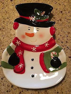 Christmas Ceramic Snowman Candy Dish Dishwasher Safe NEW