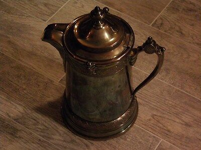 """Antique 1879 Reed & Barton Silverplated Water Pitcher W/porcelain Liner 13"""""""