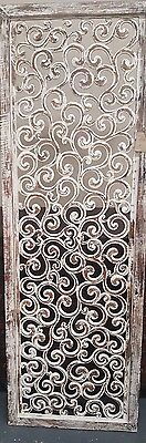 Hand carved Wooden Wall panel Floral Leaves Art Hanging Garden Natural 180 x 60