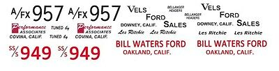 Les Ritchie VELS or Bill Waters Ford 1961-1962 1/64th HO Scale Slot Car Decals