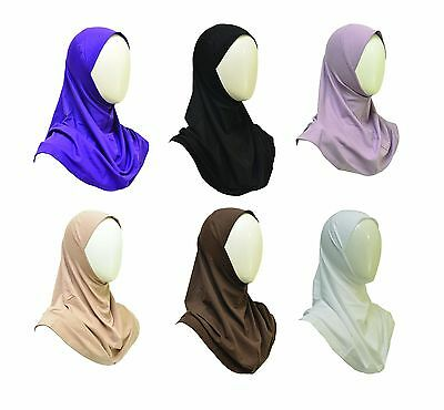 New Cotton Spandex Amira Hijab Headscarf Pullover Solid Color 1 piece