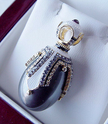SALE ! FABULOUS RUSSIAN EGG PENDANT STERLING SILVER 925 with BLACK PEARL