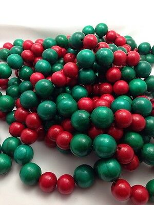 Vintage 25' Large Wood Garland Beads Red Green