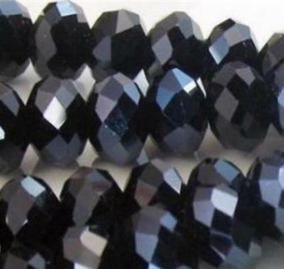100pc Black Bright FACETED RONDELLE CRYSTAL GLASS 4*6MM BEADS