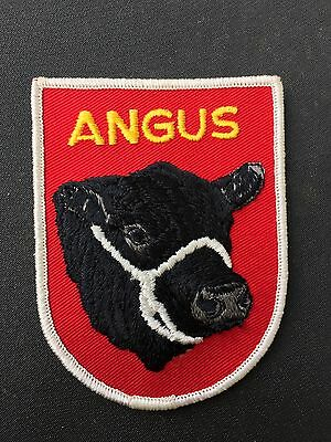 Vintage Angus Cow Cattle Bull Patch Farm Western Embroidered