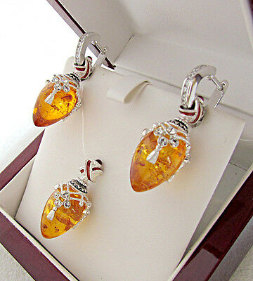 Sale ! Superb Pendant & Earrings Set Sterling Silver 925 With Genuine Amber