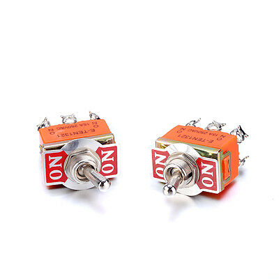 Pack of 2 Miniature Toggle Switch AC 250V 15A 6 Pin DPDT On-On Dual Position