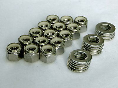 """Nylon Insert Lock Nuts 3/8""""-16 - (Qty 15) - Nyloc Stop - Stainless Steel"""