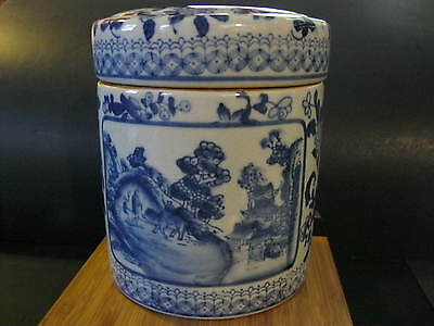 Vintage / Antique Chinese Lidded Blue and White Jar, Box  With Scenes.