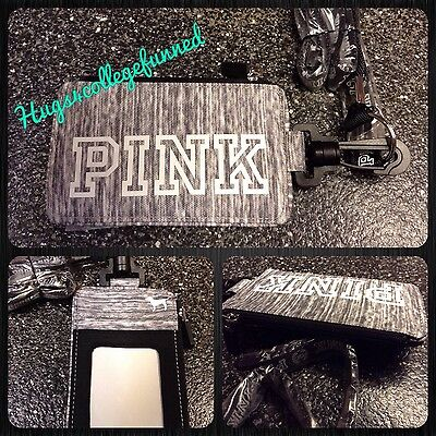 Victoria's Secret VS PINK LIMITED EDITION GRAY GREY MARL Lanyard ID Case NEW ❤️