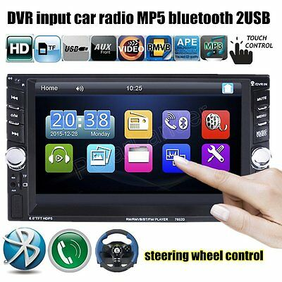 7'' HD Bluetooth Car Stereo Radio 2 DIN FM/MP5/USB/AUX/Touch Screen Headunit