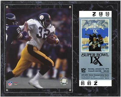 Pittsburgh Steelers Super Bowl IX Franco Harris Plaque with Replica Ticket