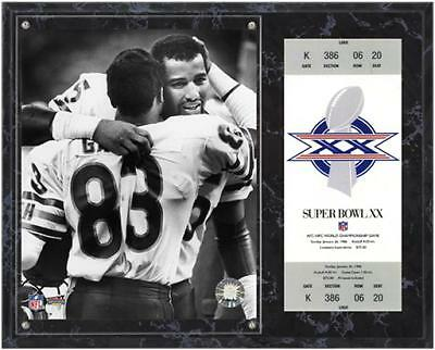 Chicago Bears Super Bowl XX Richard Dent Plaque with Replica Ticket