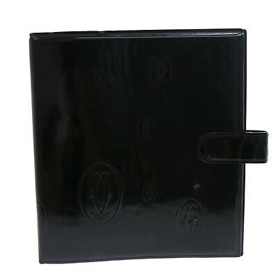 Authentic CARTIER Happy Birthday Notebook Cover Black Patent Leather V07112
