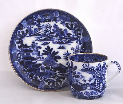 c1872 Copeland (Spode) BLUE WILLOW Demitasse Cup & Saucer Set
