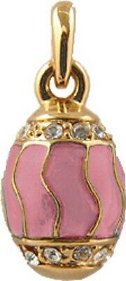 Faberge Egg Pendant / Charm with crystals 2.1 cm pink #5301-04