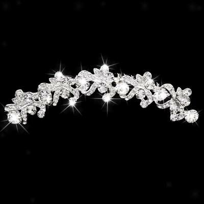 Wedding Bridal Prom Crystal Rhinestone Flower Hair Comb Pin Slide Clip Tiara